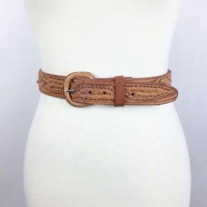 Vintage Western Tooled Leather Light Brown Belt